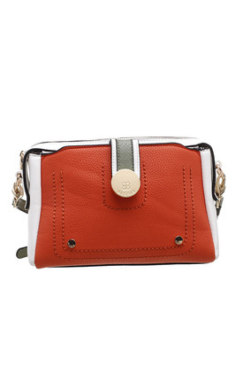 CROSSBODY BAG IN ORANGE/TRIPLE COLOUR by BESSIE LONDON