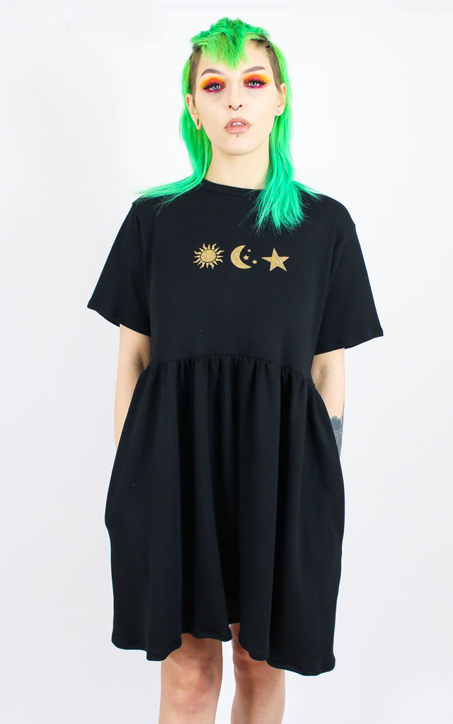 Aim High Celestial Smock Dress in Black by Tallulah's Threads