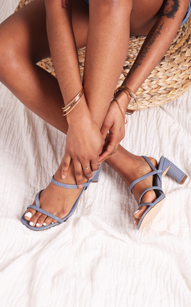 Diamond Blue Lizard Heeled Sandals with Toe Post by Linzi