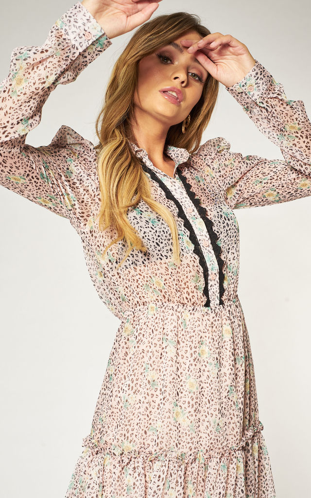Long Sleeve Summer Shirt Dress in Pink Floral Print by Pretty Darling