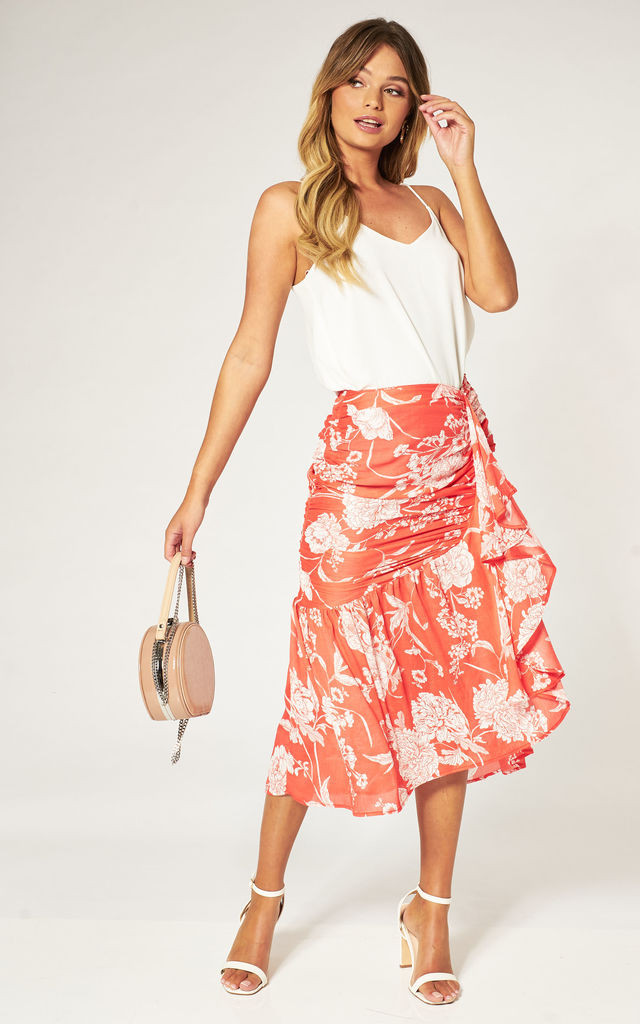Red Tropical Floral Gathered Ruffle Hem Midi Skirt by Pretty Darling