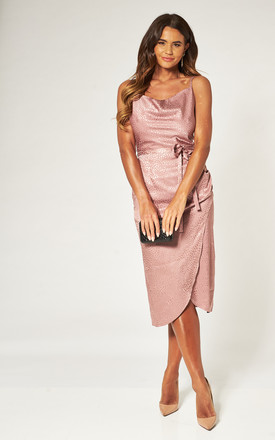 Satin Jacquard Blush Midi Dress With Cowl Neck by Love Product photo