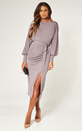 Balloon Batwing Long Sleeve Taupe Grey Ruched Midi Dress by Love Product photo