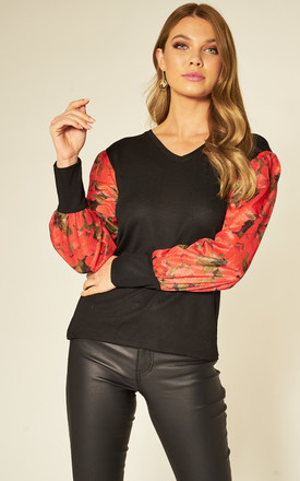 BLACK TOP WITH PUFFED RED FLORAL SLEEVES by HOXTON GAL