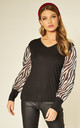 BLACK TOP WITH PUFFED ZEBRA PRINT SLEEVES by HOXTON GAL