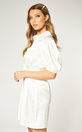 Balloon Sleeve Tea Dress in White Jacquard by Pretty Darling