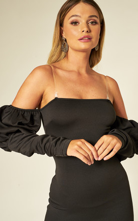 Black Bardot Mini Dress with Puff Sleeve Ruffles by Hachu