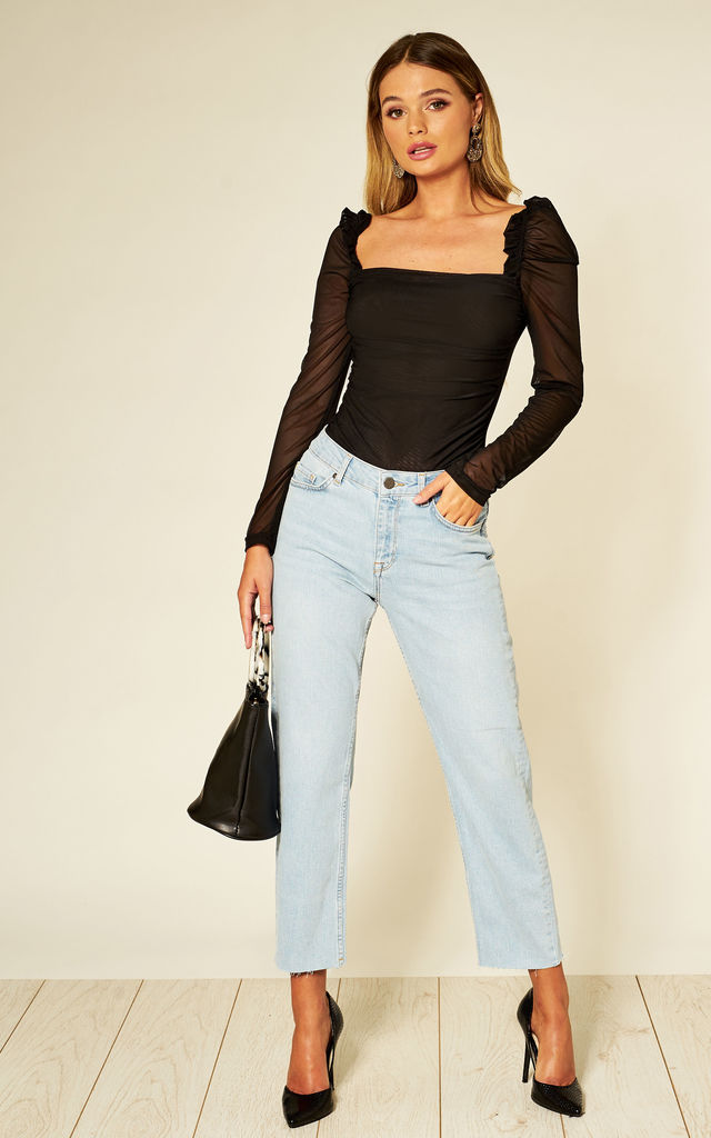 Black Mesh Ruched Top by Hachu