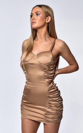 Gabriella Nude Satin Ruched Mini Dress by Luxsow