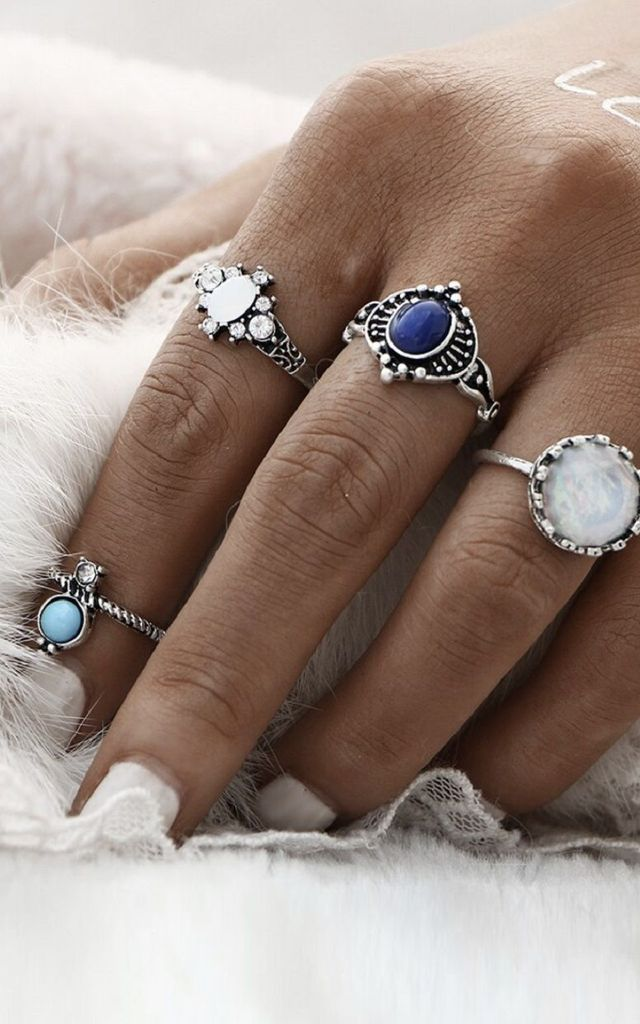 Blue Silver Ring Set by HAUS OF DECK
