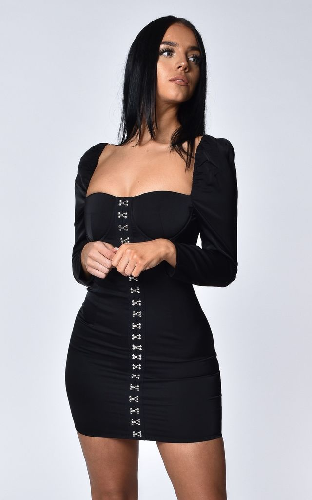 Sophina Black Mini Dress by Luxsow