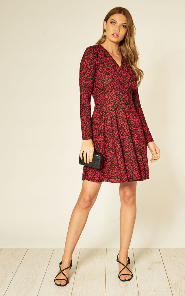 WRAP FRONT MINI DRESS IN RED FLORAL PRINT by HOXTON GAL
