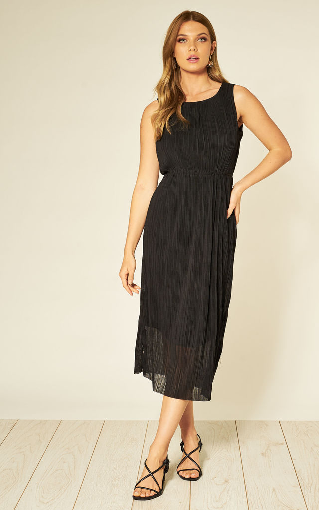 SLEEVELESS MIDI DRESS IN BLACK by HOXTON GAL
