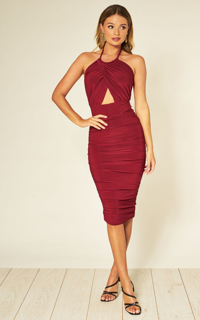 Erin Berry Halter Neck Midi Dress by Honor Gold