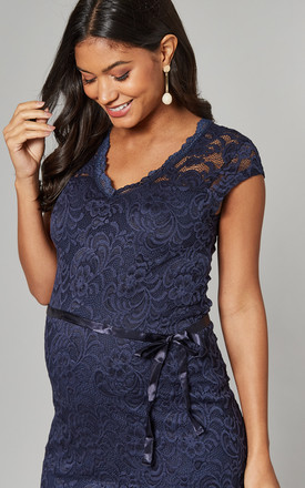 Maternity Lace Dress with cap sleeve in Navy by Mamalicious