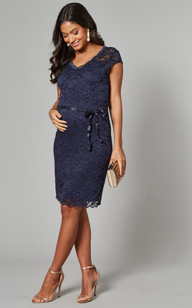 Maternity Lace Dress With Cap Sleeve In Navy by Mamalicious Product photo