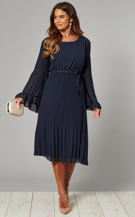 Fluted Sleeve Pleated Midi Dress in Navy by Mela London