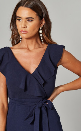 Ruffle Cropped Jumpsuit with Tie Belt in Navy by Mela London
