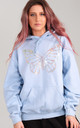 Oversized Hoodie in Baby Blue with Holographic Glitter Butterfly by LimeBlonde