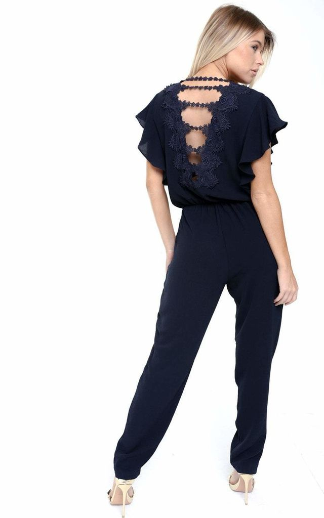 NAVY V NECK JUMPSUIT WITH LACE APPLIQUE BACK by LOES House