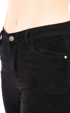 Black Skinny Stretch Corduroy Trousers by Glamour Outfitters