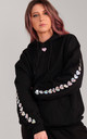 Oversized Hoodie in Black with Silver Holographic Glitter Heart Sleeves by LimeBlonde