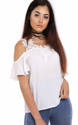 White Cold Shoulder Frill Top with Lace Appliqué by LOES House