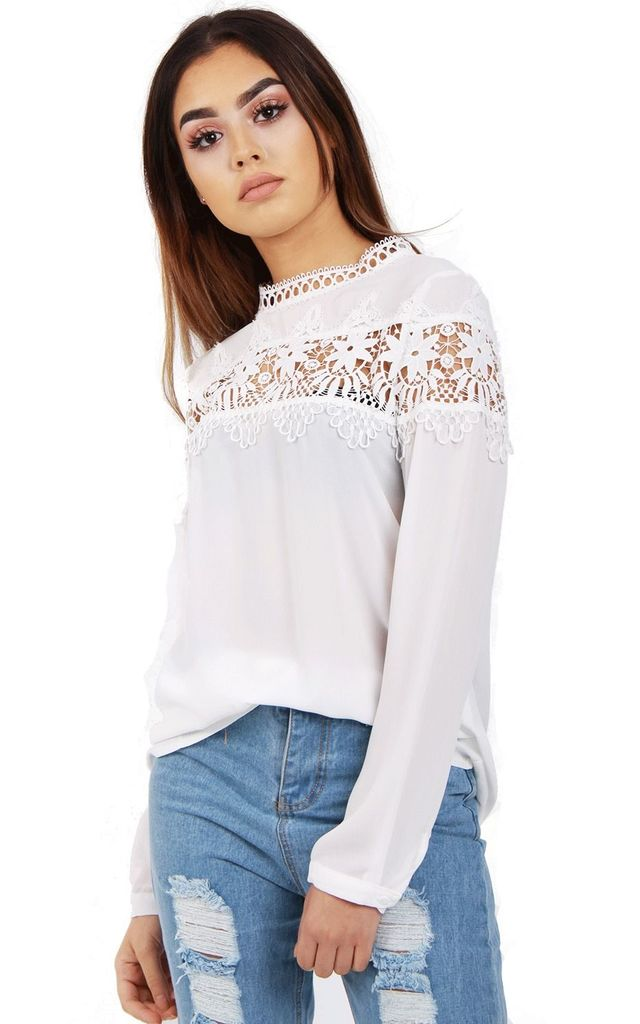 LONG SLEEVE APPLIQUE LACE Crochet TOP in White by LOES House