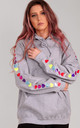 Oversized Hoodie in Grey with Rainbow Glitter Heart Sleeves by LimeBlonde