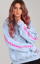 Baby Blue Oversized Hoodie with Pink Heart Sleeves by LimeBlonde