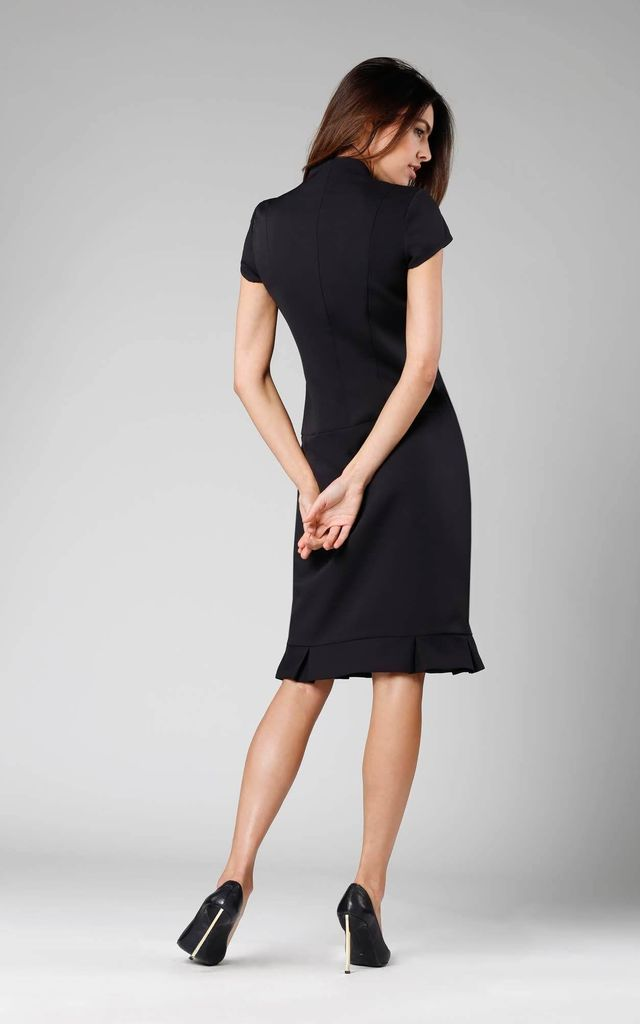 Midi Dress with Frill at Bottom in Black by By Ooh La La