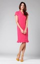 Midi Dress with Frill at Bottom in Pink by By Ooh La La