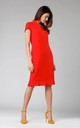 Midi Dress with Frill at Bottom in Red by By Ooh La La