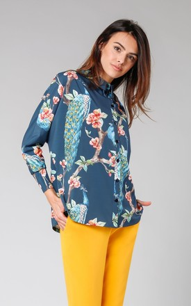 Loose Shirt with Long Sleeve in Green Floral Print by By Ooh La La