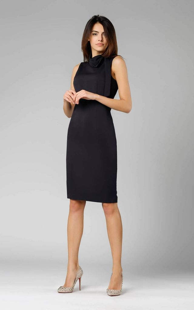 Black Sleeveless Pencil Dress with Bow by By Ooh La La