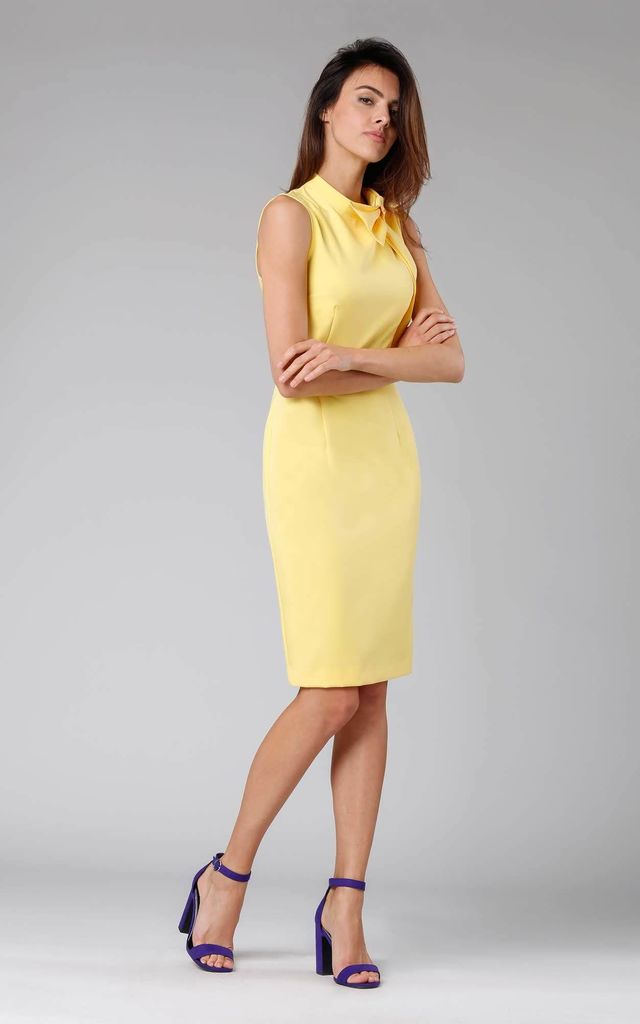 Yellow Sleeveless Pencil Dress with Bow by By Ooh La La