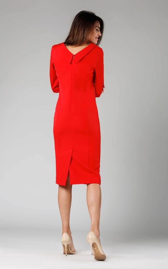 Midi Pencil Dress with V-Neck in Red by By Ooh La La