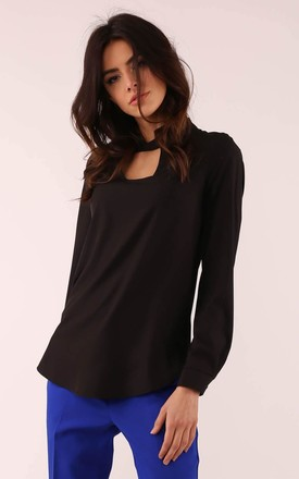 Long Sleeve Blouse with High Neck in Black by By Ooh La La