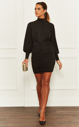 Ruched Mini Dress With Balloon Sleeve In Black by John Zack Product photo