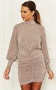 Ruched Mini Dress With Balloon Sleeves in Beige by John Zack