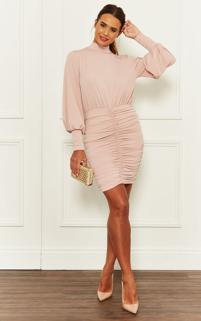 Ruched Mini Dress With Balloon Sleeves in Light Pink by John Zack
