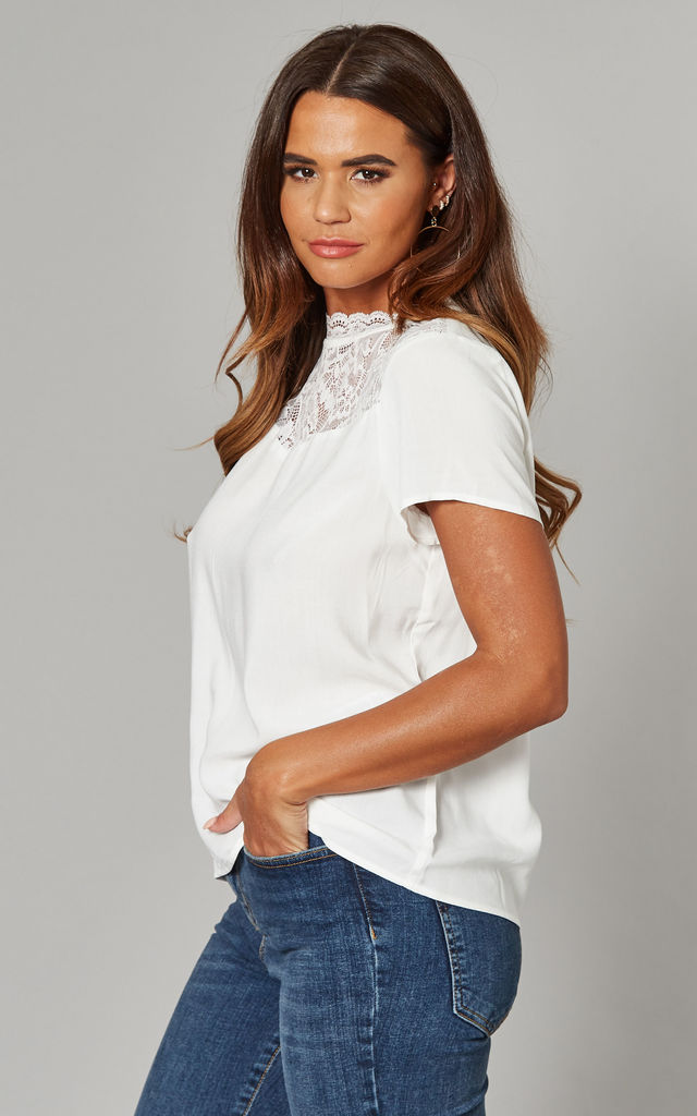 High Neck Top with Lace Detail in White by ONLY