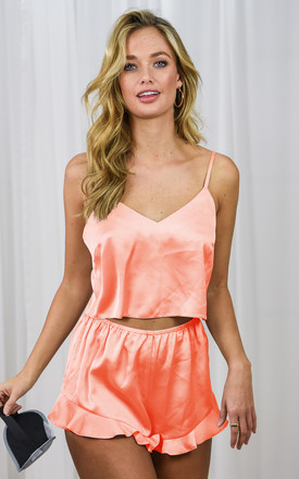 Lilia Peach Satin Pyjama Set | Top & Shorts by Style Cheat