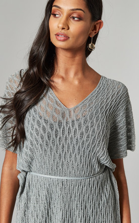 CROCHET DOUBLE V NECK TOP IN SILVER by Malissa J Collection