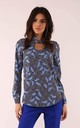 Long Sleeve Blouse with High Neck in Blue Floral Print by By Ooh La La