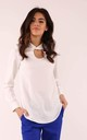 Long Sleeve Blouse with High Neck in Ecru by By Ooh La La