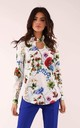 Long Sleeve Blouse with High Neck in White Floral Print by By Ooh La La