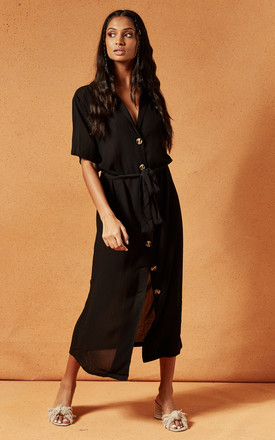 Tarrow Maxi Dress With Button Front In Black by Charlie Holiday Product photo