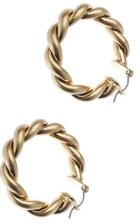 Gold Twist Hoop Earrings by Olivia Divine Jewellery