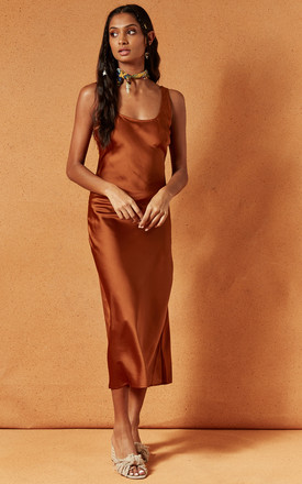 Heavenly Midi Slip Dress In Burnt Orange by Charlie Holiday Product photo